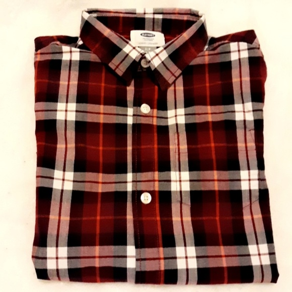 2a4f9475 Old Navy Shirts & Tops | Plaid Builtin Flex Classic Shirt Boys ...